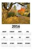 Kalender für 2016 Autumn Landscape Lizenzfreie Stockbilder