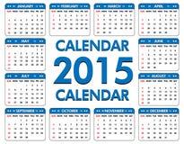 Kalender für das Jahr von 2015 lizenzfreie abbildung