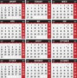 Kalender für das Jahr von 2017 vektor abbildung