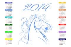 Kalender für das Pferd mit 2014 Blau. stockfotografie
