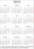 Kalender 2015 für Deutschland Stockbild