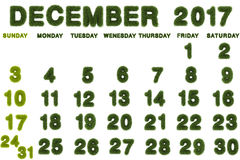 Kalender für Dezember 2017 auf weißem Hintergrund Lizenzfreie Stockfotos