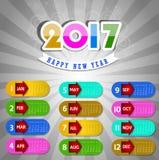Kalender für Gegenstand 2017 für Gestaltungselement Stockbilder