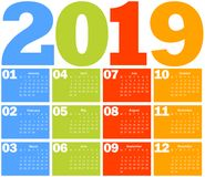 Kalender für 2019-jähriges Lizenzfreies Stockbild