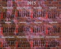 Kalender für 2015-jähriges auf englisches und französisch Lizenzfreie Stockbilder
