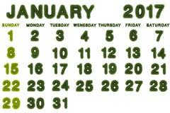 Kalender für Januar 2017 auf weißem Hintergrund Lizenzfreie Stockfotografie