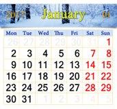 Kalender für Januar 2017 mit Birkenwaldung Stockbilder