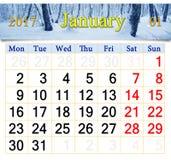 Kalender für Januar 2017 mit Birkenwaldung Stockbild