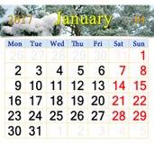 Kalender für Januar 2017 mit schneebedeckten Kiefernniederlassungen Stockfoto