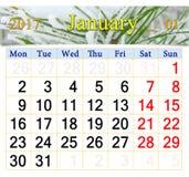 Kalender für Januar 2017 mit schneebedeckten Kiefernniederlassungen Stockbild