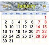 Kalender für Januar 2017 mit Winterkiefern Lizenzfreies Stockbild