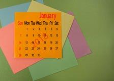 Kalender für Januar 2018-Nahaufnahme Stockbild