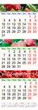 Kalender für Juli August September 2017 mit drei färbte Bilder Lizenzfreies Stockbild
