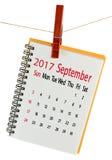 Kalender für Juli 2017-Nahaufnahme Stockfoto