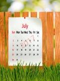 Kalender für Juli 2017-Nahaufnahme Lizenzfreie Stockfotos