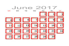 Kalender für Juni 2017 Lizenzfreie Stockfotografie