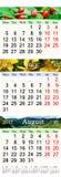 Kalender für Juni Juli und August 2017 mit farbigen Bildern Stockfotografie