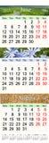 Kalender für Juni Juli und August 2017 mit farbigen Bildern Stockbild