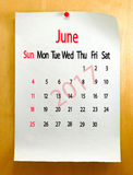 Kalender für Juni 2017-Nahaufnahme Lizenzfreies Stockbild