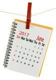 Kalender für Juni 2017-Nahaufnahme Lizenzfreie Stockfotos