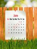 Kalender für Juni 2017-Nahaufnahme Lizenzfreies Stockfoto