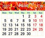 Kalender für Juni von 2017 mit Bild von Lilien Stockfotos