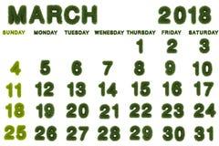 Kalender für März 2018 auf weißem Hintergrund Lizenzfreie Stockfotos