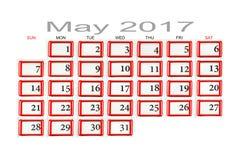 Kalender für Mai 2017 Lizenzfreies Stockbild