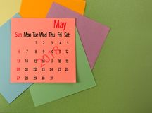 Kalender für Mai 2018-Nahaufnahme Lizenzfreies Stockfoto