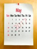 Kalender für Mai 2017-Nahaufnahme Lizenzfreies Stockbild
