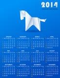 Kalender für 2014 mit einem Papierpferd Lizenzfreies Stockfoto