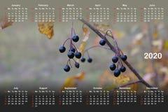Kalender für 2020 lizenzfreie abbildung