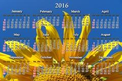 Kalender für 2016 mit großer Sonnenblume Lizenzfreie Stockfotos