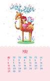 Kalender für 2016 mit netten Illustrationen eigenhändig Lizenzfreies Stockbild