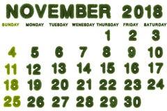 Kalender für November 2018 auf weißem Hintergrund Lizenzfreie Stockfotos