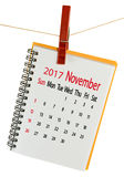 Kalender für November 2017-Nahaufnahme Lizenzfreie Stockfotografie