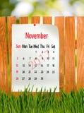 Kalender für November 2017-Nahaufnahme Stockbilder