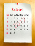Kalender für Oktober 2017-Nahaufnahme Lizenzfreie Stockfotos