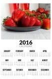 Kalender für 2016 Süße strawberies Lizenzfreie Stockbilder