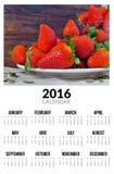 Kalender für 2016 Süße strawberies Lizenzfreies Stockbild