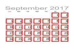 Kalender für September 2017 Lizenzfreies Stockfoto