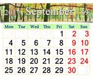Kalender für September 2017 mit herbstlichem Park Lizenzfreie Stockfotos