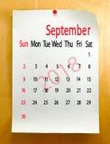 Kalender für September 2018-Nahaufnahme Lizenzfreie Stockbilder