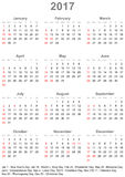 Kalender 2017 für USA - Woche beginnt am Sonntag Stockbild