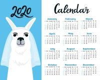 Kalender für 2020 von Sonntag bis Samstag Nette Lamabraut im Schleier Alpakaverlobtzeichentrickfilm-figur Lustiges Tier lizenzfreie abbildung