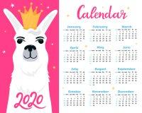 Kalender für 2020 von Sonntag bis Samstag Nettes Lama in der goldenen Krone Alpakaprinzessinzeichentrickfilm-figur Lustiges Tier lizenzfreie abbildung