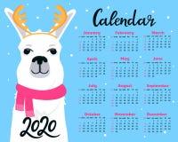 Kalender für 2020 von Sonntag bis Samstag Nettes Lama im Schal mit den Geweihen Alpakazeichentrickfilm-figur Lustiges Tier stock abbildung
