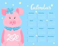 Kalender f?r 2020 Wochenanfang am Sonntag Nettes Schwein in einem Band mit einem Bogen und einem Kragen Lustiges Tier stock abbildung