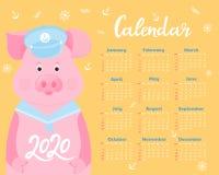 Kalender f?r 2020 Wochenanfang am Sonntag Nettes Schwein in einer Matrosenanzugmaske und -kragen Lustiges Tier lizenzfreie abbildung