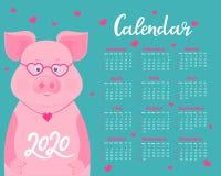 Kalender f?r 2020 Wochenanfang am Sonntag Nettes Schwein mit Gl?sern und Herz-f?rmigem Anh?nger Lustiges Tier lizenzfreie abbildung